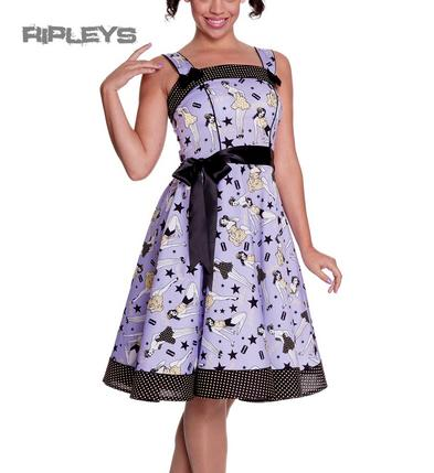HELL BUNNY 50s Rocka DIXIE DRESS Pin Up VIOLET Purple Vintage All Sizes